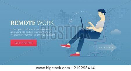 Vector banner template of a young man sitting in a chair and working on laptop as a freelancer. Vector concept for internet banners, social media banners, headers of websites, print design and more