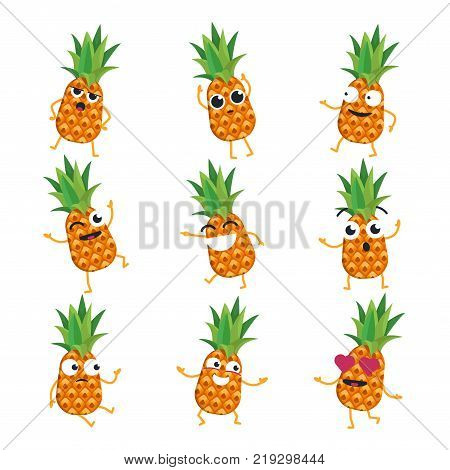 Pineapples - vector isolated cartoon emoticons. Funny emoji set with a nice character. Angry, surprised, happy, confused, in love, crazy, laughing fruit isolated on white background