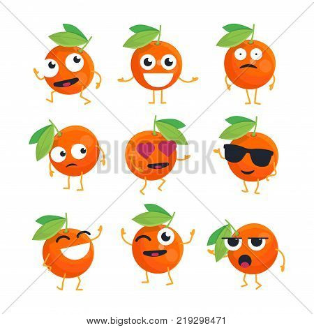 Oranges - vector isolated cartoon emoticons. Funny emoji set with a nice character. A collection of an angry, surprised, happy, confused, in love, crazy, laughing, sad, tired fruit on white background