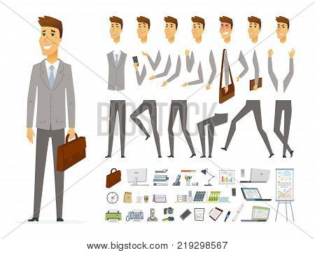 Businessman - vector cartoon people character constructor isolated on white background. Set of different face expressions, poses, gestures for animation. A lot of office equipment, objects