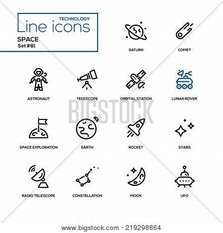 Space concept - line design icons set. Black pictograms. Saturn, comet, astronaut, telescope, orbital station, lunar rover, space exploration, earth, rocket, stars, radio, constellation, moon, ufo