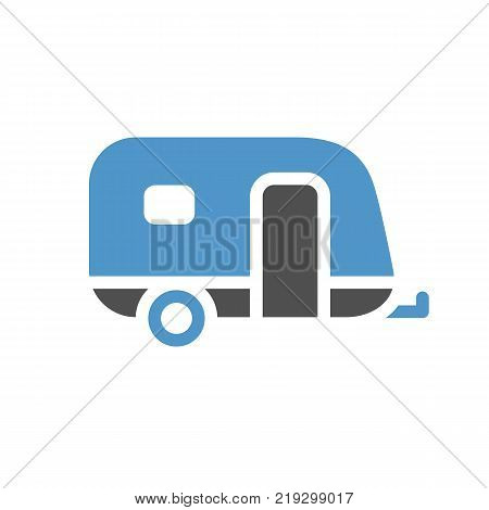Caravan - gray blue icon isolated on white background