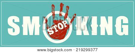 Stop Smoking sign on blue background. No smoke ban. Vector illustration.
