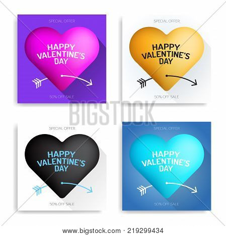 Set Valentine's Day Luxury Greeting Card Black, Pink, Gold, Blue Heart Pierced By Cupid's Arrow In V