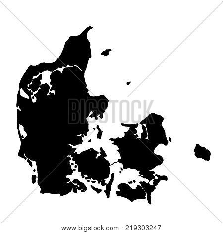 black silhouette country borders map of Denmark on white background of vector illustration