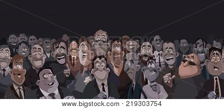 large crowd of funny cartoon people in dark room