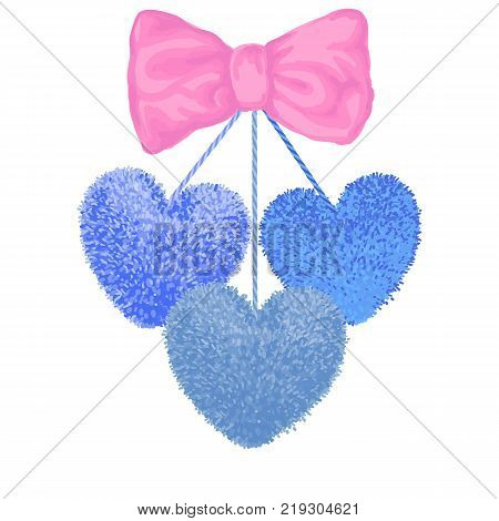 Vector colorful illustration of decortive elements with blue pom-poms in the shape of a heart hanging on the ropes with pink bow isolated on white background. Decor for Valentines day design.