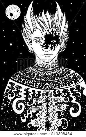 Surrealistic fantastic space man shaman, coloring page for children and adults. Vector hand drawn illustration doodle cartoon fairy tales graphic art . Mystic tribal ethnic boy coloring book.