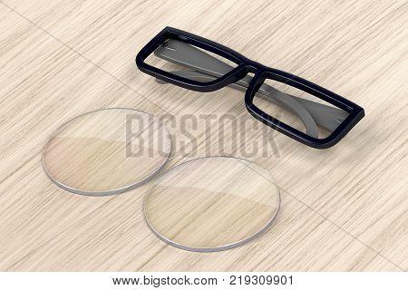 Plastic eyeglasses frame and uncut lens on wood background, 3D illustration