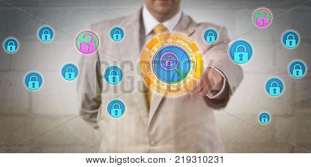 Unrecognizable security manager is performing a vulnerability scan on a database. Computing metaphor and business concept for threat assessment disaster management and information assurance. poster