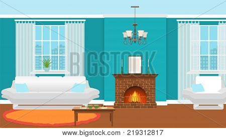 Living room interior with fireplace furniture and windows. Domestic room design with burning fire in furnace hot drinks and desserts on a table. Vector illustration.