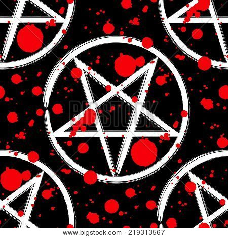 Reversed pentagram seamless pattern brush drawing magic occult star symbol with red blood splatter drops over black. Vector background illustration.