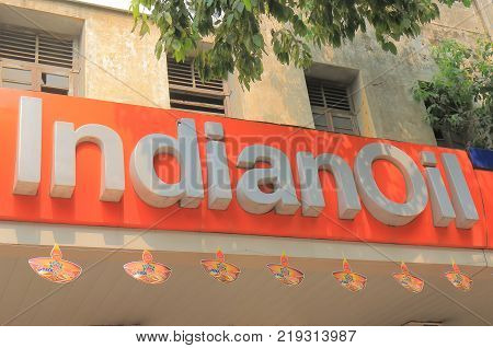 New Delhi India - October 27, 2017: Indian Oil Petrol Signage. Indian Oil Is An Indian State Owned O