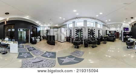 MINSK BELARUS - APRIL 18 2016: Panorama in interior prestige modern beauty spa studio salon. Full 360 by 180 degree seamless equirectangular equidistant spherical panorama. Skybox for vr ar content