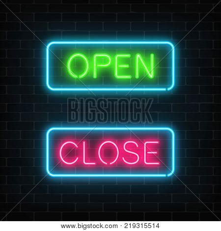 Neon green open and red close glowing signs in geometric shape on a brick wall background. Vector illustration.