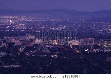 The San Gabriel Valley with Pasadena in the foreground in Los Angeles county.