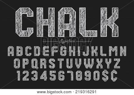 Hand drawing chalk font for chalkboard, pub and bar design. Vector illustration