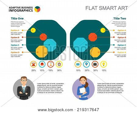 Comparison chart. Octagon, percentage diagram, layout. Creative concept for infographics, presentation, project, report. Can be used for topics like business, workflow, efficiency