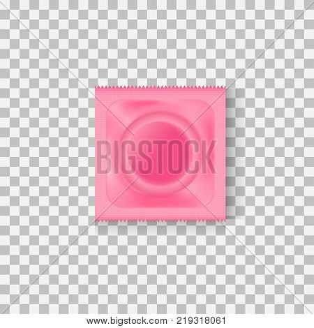 Condom in pink package. Barrier contraceptive, preventing pregnancy, sexual act, copulation. Sex concept. Can be used for greeting cards, posters, leaflets and brochure