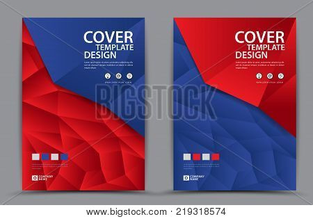 Red And Blue Cover Template Polygonal Background, Vertical Layout, Business Brochure Flyer, Annual R
