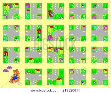 Template with exercise for children. Cut the squares, make your own village with roads and drive by toy cars. Developing skills for cutting and handwork.