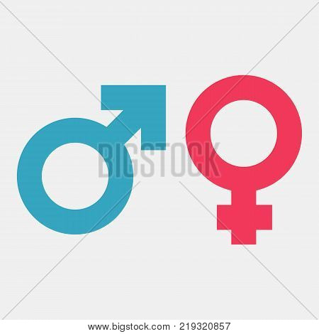 Gender symbols. Male and female color icon. Vector illustration flat style design. Isolated on white background. Man and woman silhouette pictogram.