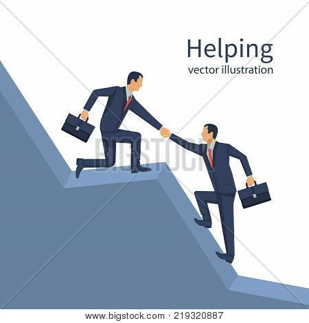 Business helping concept. Businessman gives a helping hand to an employee. To give help man, metaphor. Vector illustration flat design. Isolated on white background. People in suit with briefcase.