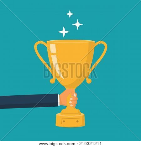 Winning cup in hand. Gold trophy. Symbol of success, winning, championship. Award bowl. Vector illustration flat design. Isolated on background. Leadership concept.