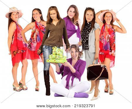 Collage with seven happy woman (three model) in studio on white background