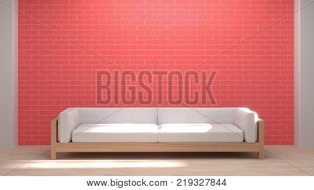 White Sofa in the room Red brick wall Loft style 3D rendering room is empty waiting for the interior design clean Wooden floor picture for copy space living room