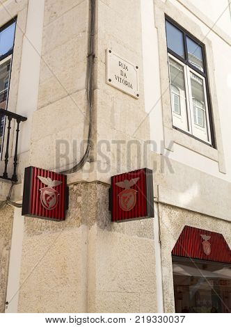 LISBON, PORTUGAL - September 25, 2017: Corner of Street Victory where the Footbal Club Sport Lisboa e Benfica (SLB) has its gift shop in Lisbon Portugal