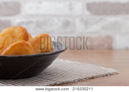 Chinese fried Dough bun on wooden plate