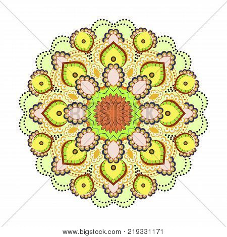 Mandala ornamentation design. Asian traditional mehandi style decor. Oriental pattern, vector illustration. Vintage decorative elements