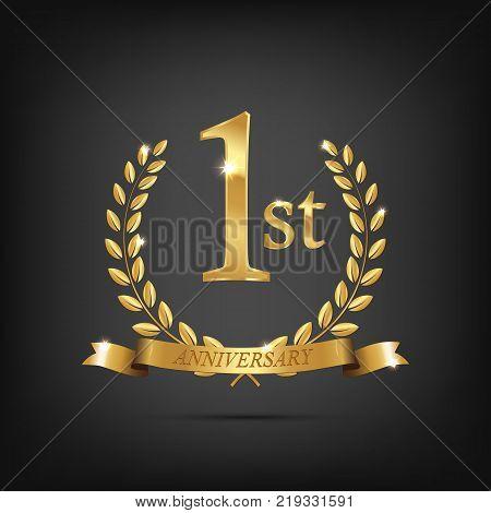 1 anniversary golden symbol. Golden laurel wreaths with ribbons and first anniversary year symbol on dark background. Vector anniversary design element