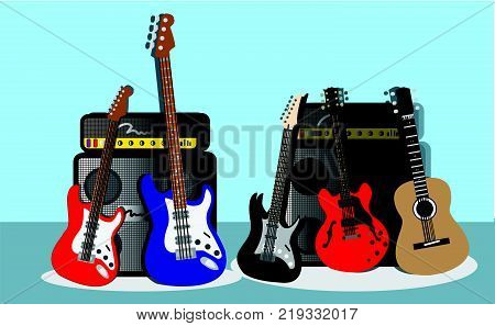 Music Instruments guitar bass and amplifier Background vector illustration.