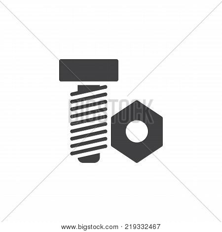 Nut and bolt icon vector, filled flat sign, solid pictogram isolated on white. Screw symbol, logo illustration