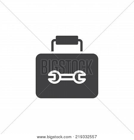 Tool box with tools icon vector, filled flat sign, solid pictogram isolated on white. Toolbox symbol, logo illustration