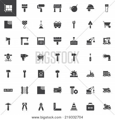 Construction equipment and tools vector icons set, modern solid symbol collection, filled style pictogram pack. Signs, logo illustration. Set includes icons as blueprint, demolition, crane, bulldozer