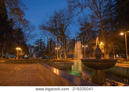 Fountain in the night park. Autumn night landscape in the park trees lamps In the park at night