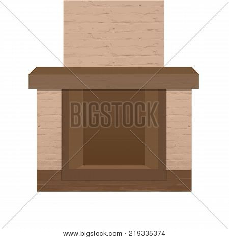 Home fireplace with chimney. Realistic texture of brickwork