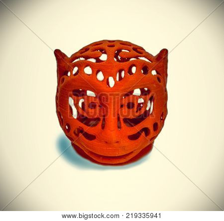 Objects printed by 3d printer Isolated on white background. Bright colorful object. Automatic three dimensional 3d printer performs plastic modeling. Modern 3D printing technology