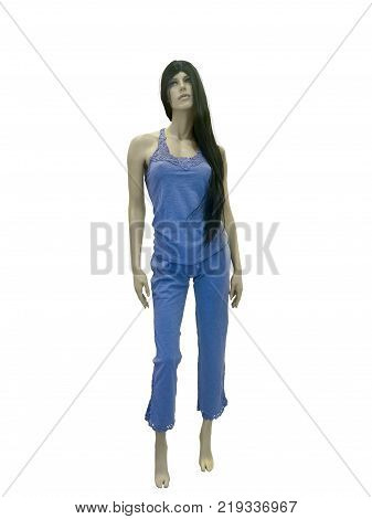 Full-length female mannequin in nightwear. Isolated on white background. No release required. No brand names or copyright objects.