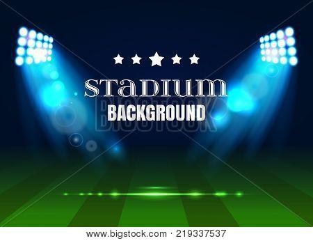 Soccer match, stadium with light . Football poster background. Stadium background with bright spotlights, stadium floodlights background.Vector illustration EPS 10