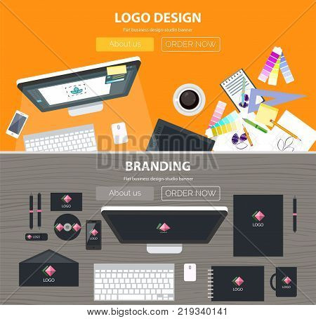 Branding, logo design flat illustration concepts set. Top view. Modern flat design concepts for web banners, web sites, printed materials, infographics. Creative vector illustration