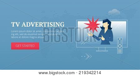 Vector banner template of TV advertising with female speaker on TV screen with TV remote. Vector concept for banners, infographics or landing pages of website