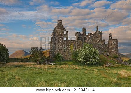 Kilchurn Castle, a ruined 15th century structure on the banks of Loch Awe, in Argyll and Bute. It used to an be original powerbase of Clan Campbell. Scotland, UK, United Kingdom
