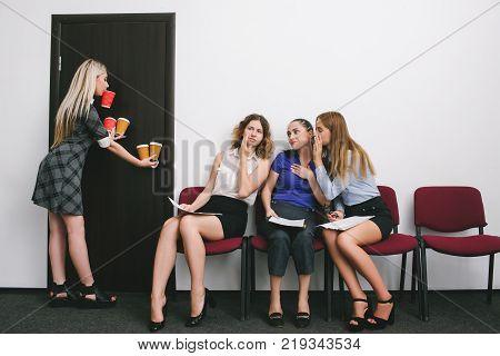 secretary office work women gossip concept. flunky conviction. female rivalry. poster