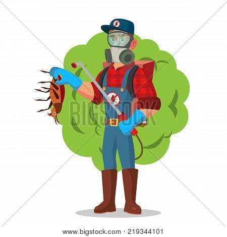 Anti Microbes Sanitation Vector Concept. Worker Spraying Pesticide. Chemical Protective Suit Termites. Disinfection. Isolated On White Cartoon Character Illustration