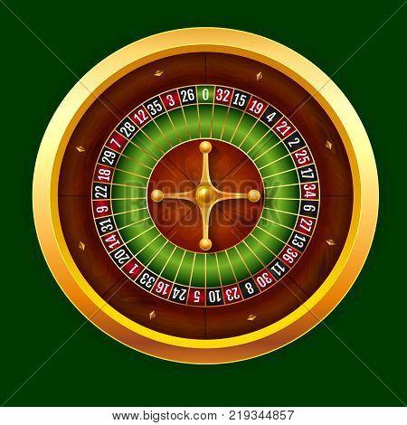 Vector stock illustration beautiful realistic casino wheel of European roulette. EPS 10