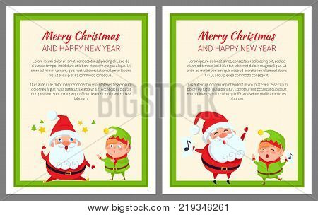 Merry Christmas and happy New Year, poster with Santa Claus with long beard, and elf wearing green costume, text sample, vector illustration